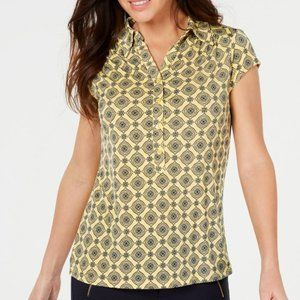 NWT Charter Club Printed Cap-Sleeve Polo Top sz M